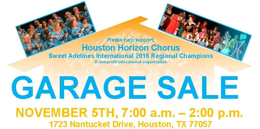 Garage Sale 11 5 2016 Houston Horizon Chorus